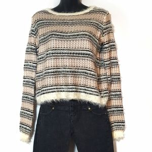 NWOT Cozy Fuzzy Striped Sweater